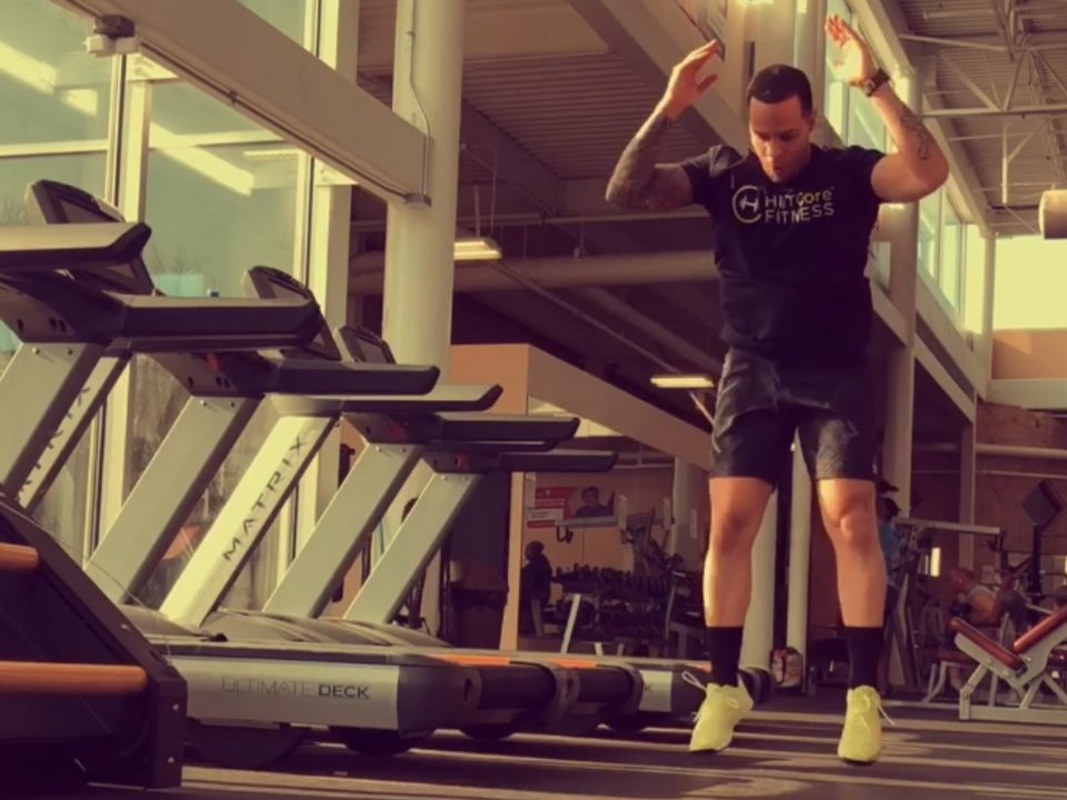 high intensity treadmill workout with burpees
