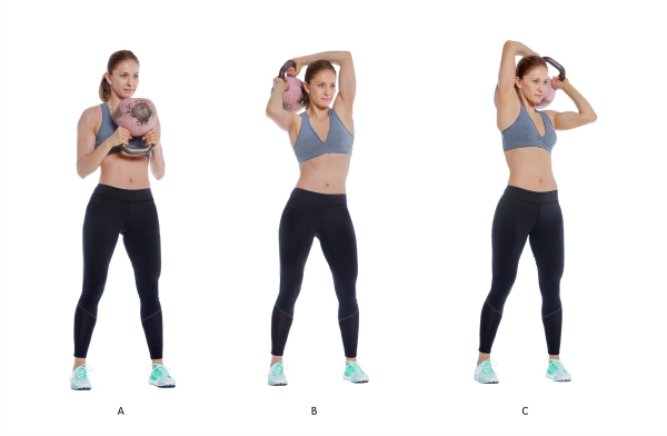 fitness woman doing kettlebell workout