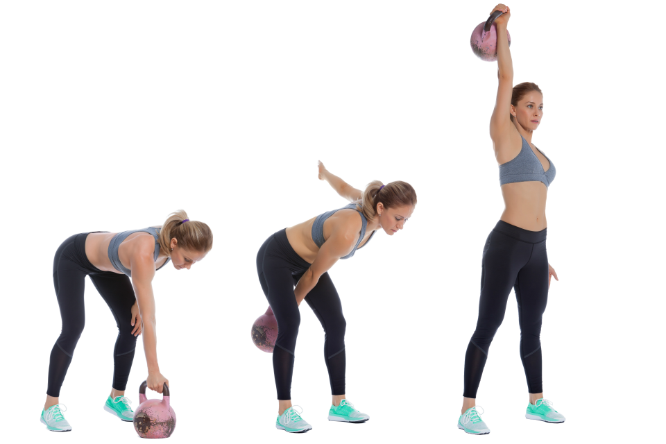 fitness woman doing kettlebell snatch workout