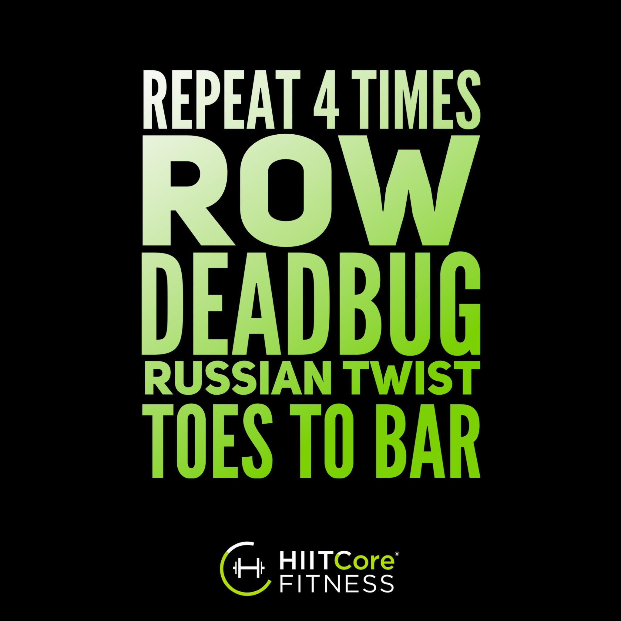 Row Deadbug Russian Twist Toes to Bar Workout