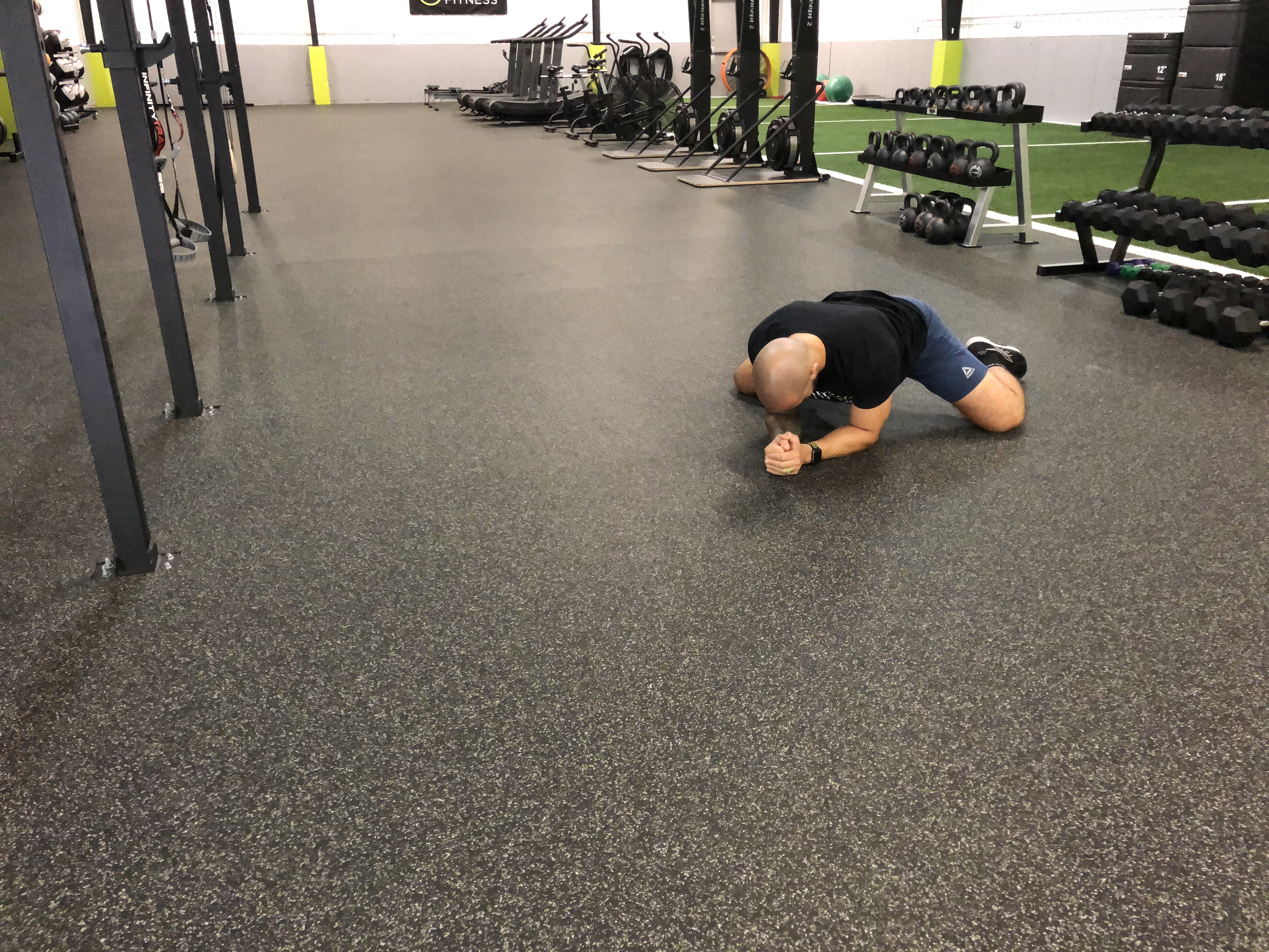 prone groin stretch demonstration